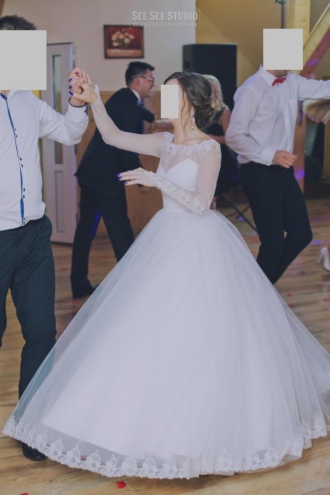 Suknia ślubna Z Koronką Goset Bolerko Księżniczka 34 36 S Xs