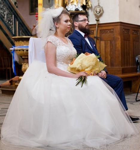 Suknia ślubna Ecru Hiszpańska Koronka 38 Wesele123pl